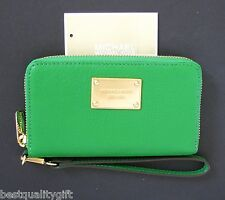 MICHAEL KORS ELECTRONICS PALM GREEN LG LEATHER PHONE CASE,WRISTLET,CLUTCH,WALLET