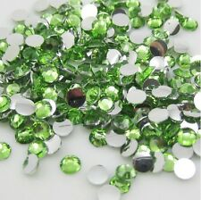 Diy 800pcs 4mm Facets Resin Rhinestone Gems Flat Back Crystal beads Green ZY1