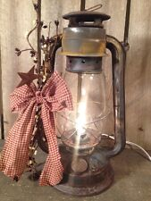 Old Rusty Metal Decorated Lantern Country Primitive  Farmhouse Decor