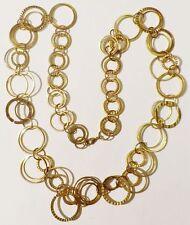 collier rétro anneaux lise et gravé entrelacé couleur or patiné necklace * 8992