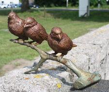 Bronzeskulptur, 3 Spatzen auf Ast, Haus- und Gartendekoration*