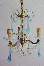 ANTIQUE ITALIAN  CHANDELIER BLUE CRYSTAL AND GILT BRONZE (goutte d'eau)