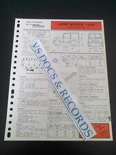 FICHE TECHNIQUE AUTOMOBILE RTA LAND ROVER 904 MOTEUR ESSENCE 2,3 l (réf123)