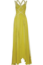 authentic Herve Leger lemon lime green bandage chiffon gown new Dress sz M
