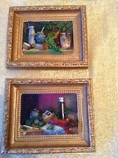 2 VINTAGE GOLD PLASTER RELIEF CHALKWARE PICTURES PLAQUES~FOOD KITCHEN SCENES