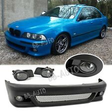 97-03 BMW E39 5-Series M5 Style Front Bumper + Clear Fog Lights 540i 525i 530i