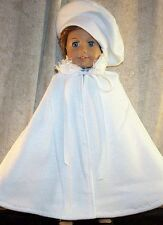 """Doll Clothes fits 18"""" inch American Girl White Fleece Cape Fluff Collar Beret'"""