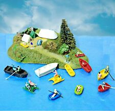 Set 10 units canoes + 10 People Figures Model OO HO 1:87 scale