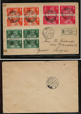 Tripolitania 35-37 blocks on registered cover to Germany  1930          KL1026