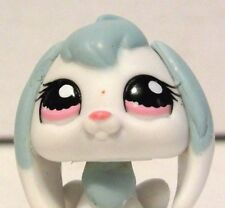 2008 Littlest Pet Shop Blue & White Long Ear Bunny Rabbit #1144 Pink Eyes LPS