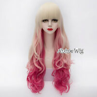 Blonde Mixed Pink Long 75CM Curly Anime Cosplay Party Heat Resistant Full Wig
