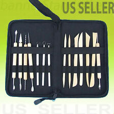 Deluxe 14 piece Pottery Tool Set Clay Molding Sculpting Tools w/ Zipped Case