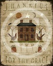 Primitive Fall Thankful for thy Grace Distressed Thanksgiving Harvest Print 8x10