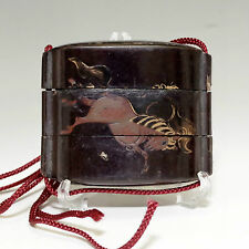 INRO Small Antique Japanese Lacquered Nest Box in Edo #621