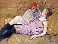 Sur le canapé canapé lesbian pic toulouse lautrec toile ou fine art poster print