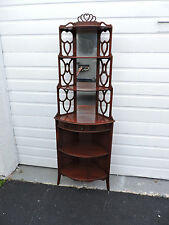 Mahogany Narrow Corner Display Cabinet / Bookshelf with Mirror by Butler 7004
