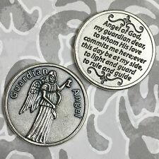 Guardian Angel Catholic Token Protect Devotion Prayer Coin Medal Gold Tone Italy
