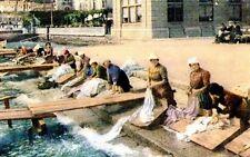 Riproduzione Cartolina Lavoro 1920 Lavandaie Lago di Como