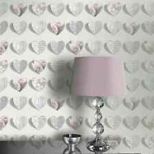 OLIVIA HEARTS WALLPAPER - BLUSH - ARTHOUSE 669701 - PINK ROSES NEW