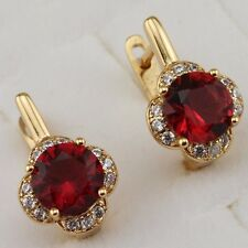 Crazy Awesome Ruby Red Gems Jewelry Yellow Gold Filled Huggie Earrings h2657