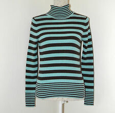GAP Size M Stretch Turquoise and Dark Brown Polo Neck Sweater VGC