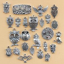 Owl Deluxe Charm Collection 25 Tibetan Silver Tone Charms FREE Shipping E5