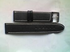 Gents 16mm Black Leather Watch Strap / Band - Silver Coloured Buckle - NEW..
