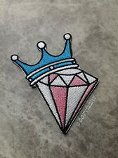 PINK DIAMOND BLUE CROWN 7x6.5CM CRAFT ROYAL DANCE IRON ON PATCH APPLIQUE BADGE