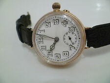 Stunning Francois Borgel 9ct Gold Cased Trench Watch. London 1919 . 34mm.