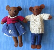 ooak artisan felt dressed stuffed teddy bear miniature dolls -set 2 boy girl 4""