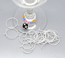 200 Silver Plated Wine Glass Rings Earring Hoops Jewelry Charms Findings 25x20mm