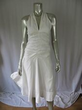 DKNY S 100% Cotton White 1 Layer Draped Torso A-Shaped Boardwalk Beach  Dress