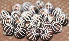 Bronze & White 14x14mm Acrylic Fluted Round Vintage Style Beads (10ea)  B198