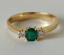 COLOMBIAN NATURAL AAA ROUND EMERALD & DIAMONDS SOLITAIRE RING 18K Y.G SIZE 8
