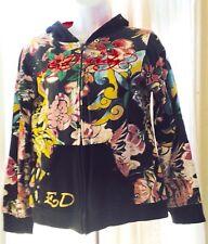 Ed Hardy Hoodie Kids Black Jacket Hooded Long Sleeve Hoodie Sweatshirt Floral L