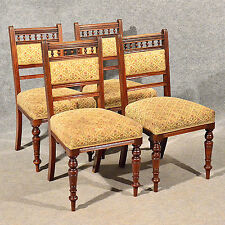 Antique Dining or Kitchen Chairs x 4 Comfy Upholstered Seats Edwardian Oak c1910