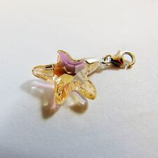 925 Sterling Silver Bracelet Charm Swarovski Elements Crystal Starfish Silk New