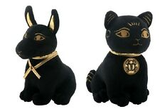 Small Ancient Egyptian God Anubis and Bastet Cat Stuffed Animal Plush Set of 2