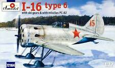 Amodel - Polikarpov I-16 type 6 fighter Ski & Missiles PC-82 Modell 1:72 kit NEU