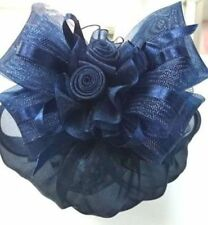 Lovely Blue Snood Cover Clip On Hair Bow Ribbon Lady Ballet Dance Silk Blend