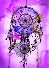 "Beautiful Dreamcatcher CANVAS ART PRINT spiritual Native purple poster 24""X16"""