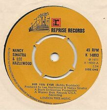 "NANCY SINATRA & LEE HAZLEWOOD - DID YOU EVER + BACK ON THE ROAD - 7"" SINGLE 1971"