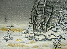 "ORIGINAL  ACRYLIC ART ACEO PAINTING BY LJH  ""WINTER BLIZZARD."" A186"