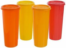 TUPPERWARE 16 Oz JUMBO TUMBLERS / GLASSES WITH LID (5 PCS)- CAPACITY 470 ML