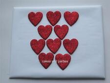 10 X EDIBLE RED GLITTER HEARTS. CAKE DECORATIONS - LARGE 4cm