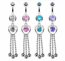 B#308 - 4pcs Three String Heart Dangle 14g Belly Rings Navel naval