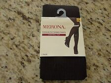 Merona Premium Control Top Patterned Tights Size S/M Mesquite BBQ & Ebony
