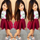2015 Baby Girls Dress Solid Flower Print T-shirt+Skirt 2pcs Clothes Outfits Sets