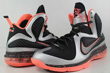 Nike Air Lebron IX 9 Metallic Silver Bright Mango Black Size 9 elite
