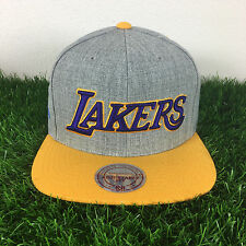 Mitchell and Ness Los Angeles Lakers Gray Adjustable Fit Wool Snapback Cap Hat